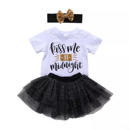 Mini aMerican girl clothes online shopping - New Baby Girl Princess Tutu Dress Boutique girls set T shirt Skirt Headband Outfit Baby Girl Clothes Lovely Kids Clothing B11