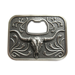 belt buckle bottle opener 2020 - Vintage Silver Plated Western Cowboy Long Horn Bull Beer Bottle Opener Belt Buckle discount belt buckle bottle opener