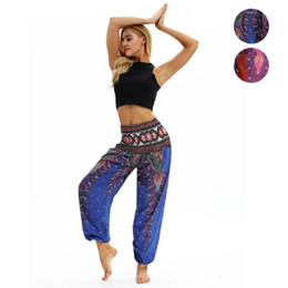 Summer Yoga Pants NZ - New Summer Beach Pants Women Thai High Waist Outdoor Yoga Pants Plus Size Loose Print Bloomers Trousers Women