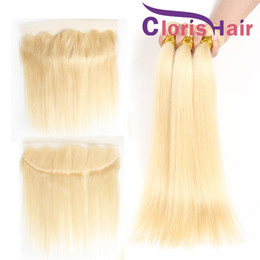 Discount 613 platinum blonde hair extensions - Platinum Blonde Ear To Ear Lace Frontal Closure With 3 Bundles Straight Peruvian Brazilian Human Hair Weaves 613 Hair Ex