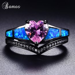 Bamos Retro Blue Opal Ring Set Corazón Rosa Anillos Cubic Zirconia Oro Negro Lleno Wave Ring For Women Promise Wedding Jewelry