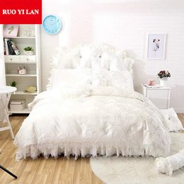 Pink Ruffles Lace Bedding Sets NZ - White Pink Sweet Princess Satin Cotton Home Bedding Set 4pcs Lace Ruffles duvet cover bedspread bed skirt bedclothes king queen