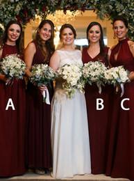 $enCountryForm.capitalKeyWord NZ - Custom Made Burgundy Bridesmaid Dresses Long High Neck V-neck Draped Chiffon Wedding Dress For Guest Evening Gowns Party Dress Long Chiffon