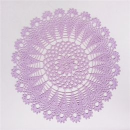 crochet doily tablecloth UK - Purple Crochet Doily, Lace Round Doily, Cotton Dreamcatcher Doily, Crochet Centerpiece and Placemat, Lace Tablecloth, Table Topper 13 inches