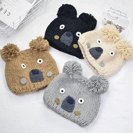 $enCountryForm.capitalKeyWord NZ - New Autumn Winter Baby Kids Knitted Hat Catoon Bear Caps Boys Girls Children Knit Warm Hats Cap M178