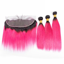 Pink ombre weft online shopping - Two Tone Virgin Human Hair With Lace Frontal x4 Silky Straight B Hot Pink Hair bundles Weaves With Lace Frontal