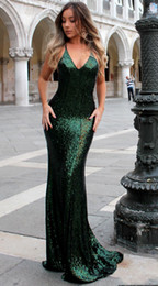 sexy straps Canada - Dark Green Mermaid Sparkly Evening Dresses 2018 Backless V Neck Sexy Spaghetti Straps Long Party Dress for Prom vestidos de fiesta