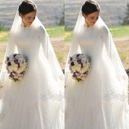 Skirts Zipper Back NZ - 2018 Long Sleeve Lace Muslim Wedding Dresses High Neck Tulle Skirt Floor Length Modest Wedding Gowns Bridal Dresses Zipper Back