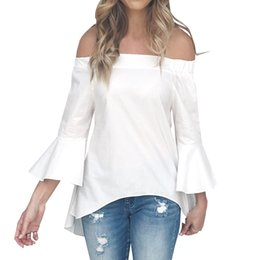 97bfcaa4b55 Flare Sleeve Slash Neck Women Blouse Female Shirts Blusa Girl Kawaii Off  Shoulder Back Cut Out Plus Size Loose Casual Top GV279