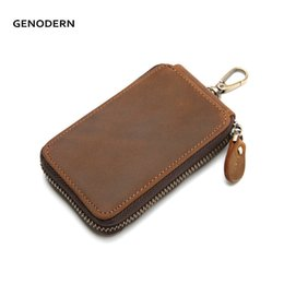 $enCountryForm.capitalKeyWord NZ - Vintage Cow Leather Key Holder for Men Brown Zipper Key Holder Housekeeper Keys Organizer Car Holders Wallets