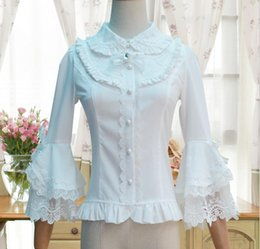 lolita blouses Australia - Sweet maid Lolita Shirt Three Quarter Trumpet sleeves Embroidered Peter Pan Collar White Black Lace Ruffle Blouse for Ladies