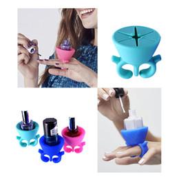 Großhandel 25 TEILE / LOS Professionelle Silikon Finger Halter Nail art Form Werkzeuge Für Nägel Tränken Weg Nagelgelpoliermittel Kosmetik Maniküre UV LED Lampe