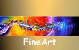 Good Paintings Australia - good quality hand painted 3 piece canvas art sets oil paintings bright color abstract decoration home modern hanging on wall
