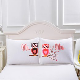 Valentine Pillows Gift Canada - His Her King Queen Pillowcase Mr Right Mrs Right Pillow Cases Fancy Design Pillow Covers For Lovers Couples Valentine Wedding Gift