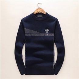 Discount spell clothes - Autumn Clothing New Pattern Man Round Neck Fashion Geometry Spelling Color Long Sleeve Cotton Unlined Upper Garment Knit