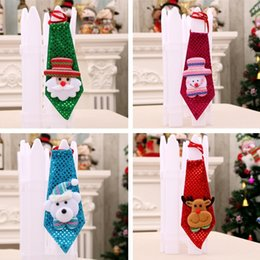 Xmas ties online shopping - Xmas Party Decorations Children Christmas Tie LED Sequins Tie Santa Snowman Little Bear Tie Children New year Gifts T5I021