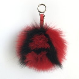 "$enCountryForm.capitalKeyWord Canada - Black Red -6"" Large Soft Real Fox Fur Pom Pom Ball Initial Letter""A"" ABcharm Bag Charm Keyring(color an custom)"