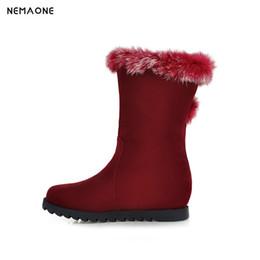 fd4c5db159b NEMAONE Women Wedges Boots Warm Fur Snow Boots Inside Heel Winter Shoes  Zipper Botas Women Footwears big Size 34-43