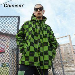 $enCountryForm.capitalKeyWord Canada - CHINISM Plaid Full Print Hooded Long Trench Men Loose American Street Windproof Hip Hop Hoodie Jackets Coats Autumn Winter