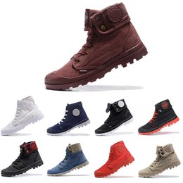 Discount women red knee boot - New Classic PALLADIUM Pallabrouse Men High Army Military Ankle mens women boots Canvas Sneakers Casual Man Anti-Slip des