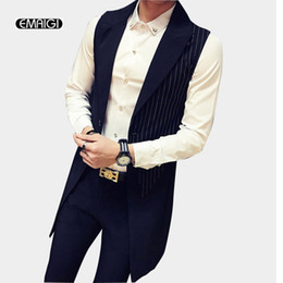 Suit Trench Canada - Male Sleeveless Trench Coat Stripe Splice Vest Men Fashion Slim Fit Waistcoat Trench Suit Jacket