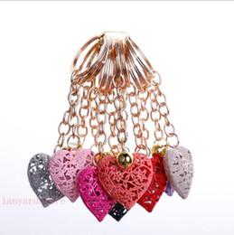 Heart Shaped Handbags Wholesale Australia - 100Pcs lot drilled hollowed metal key buckle heart-shaped jeans Handbags Pendant Sweetheart gift Creative key chain free shipping
