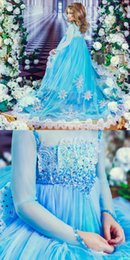 Sequin decoration clothing online shopping - Water Blue Long Sleeve Girl s Cute Clothes Lace Appliques Kids Dresses With Sequin Decoration Long Train Wedding Flower Girl Dresses