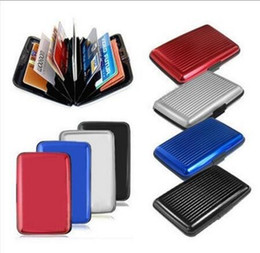 File Folder wallet online shopping - Aluminum Alloy Mini Briefcase Card Holders Upscale Stripe Water Resistant Aluma Wallet Colorful Card Cover Case New