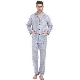 b20bf7a372 Male stripe print Pyjamas Autumn Summer 100% Cotton Pajamas Set Sexy Soft Men  Sleepwear Modal Casual Homedress S-4XL