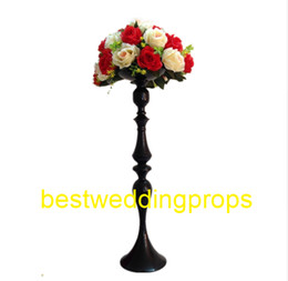$enCountryForm.capitalKeyWord Australia - elegant Tall New Arrival ! Gold Metal Vase, black Flower Vase, Royal back Trumpet Vase For Decoration best0173