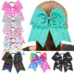 $enCountryForm.capitalKeyWord NZ - 30 Pcs 7 Inch Unicorn Heart Print Cheerleading Ribbon Bows Cheer Bows Tie With Elastic Band Girls Rubber Hair Band Beautiful HuiLin DW83