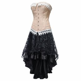 fb085a64d6 Sexy Steampunk Corsets and Bustiers Burlesque Gothic Lace Steampunk Corset  Dress Plus Size Costume Floral Bustier Dress