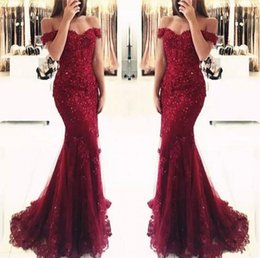 China Junoesque Burgundy Lace Mermaid Prom Dresses Appliques Off the shoulder Beaded Sequins Long Prom Gowns Evening Dresses cheap off shoulder asymmetrical evening dress suppliers