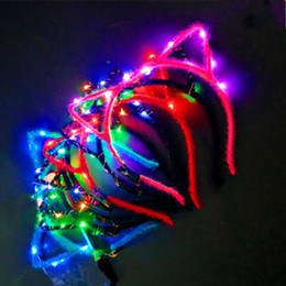 $enCountryForm.capitalKeyWord Australia - Cute Cat Animal Ears LED Lighted Glowing Headband Kids Adults Flashing Headwear Birthday Glow Party Supplies
