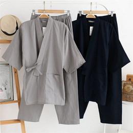 Men 100% Cotton Yukata Kimono Suit Men Japanese Traditional Pajamas Set Summer Japanese Style Bathrobe With Shorts 050401 Fast Color Men's Sleep & Lounge Men's Pajama Sets