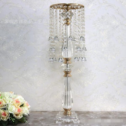 Discount acrylic crystal candle holders Wedding road led Crystal bead curtain Acrylic Flower stand Wedding layout props T stand decorative prop The road led furnishing articles