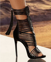 Short White High Heels NZ - Women Sexy Fashion Open Toe Black White Thin Straps Cross Short Gladiator Boots Cut-out Super High Heel Tassels Ankle Booties