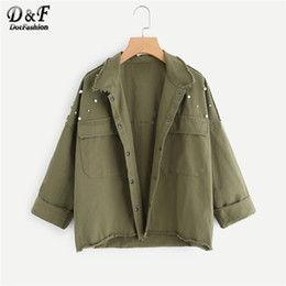 Dotfashion Perlen Perlen Cut Trim Military Armee Grüne Jacke Frauen Herbst Roll Up Sleeve Pocket Frühling Lässig Plain Coat