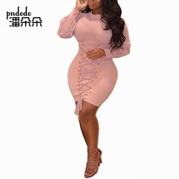 06fcd1bd99 Pndodo Front Tie Slim Bandage Mini Dress Women Long Sleeve Round Neck Brief  Dress Bodycon Tunic Slim Night Party Sexy Clubwear