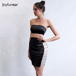 20187 Joyfunear Women Hollow Out Sexy Two Piece Outfits Club Dresses  Sleeveless Vestidos Summer Zipper Strapless Package Hip Dress 173177cc03c4