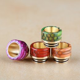 gold drip tip wide bore Canada - Snake Skin Grid Pattern Gold Stainless Steel 810 Thread Epoxy Resin Golden Drip Tips Wide Bore Mouthpiece for TFV8 Prince Kennedy DHL