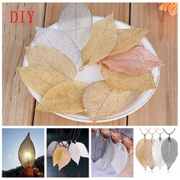 Wholesale natural leaf jeWelry online shopping - Romad DIY Unique Natural Real Leaves Leaf Charms Pendants for Necklace and Earrings DIY Jewelry Retail