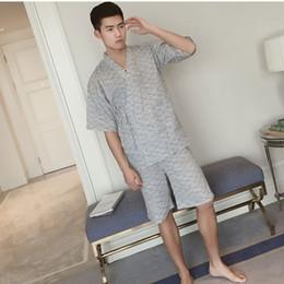 Underwear & Sleepwears Men's Sleep & Lounge Plus Size Summer Short-sleeved Shorts Plaid Pajama Suit European Mens Cotton Mens Pyjama Sexy Sleepwear Men Pijamas Big Size Profit Small
