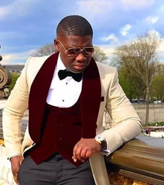 Wholesale Popular Handsome Groomsmen Shawl Wine Lapel Groom Tuxedos One Button Men Suits Wedding Prom Best Man Blazer Jacket Pants Vest Tie