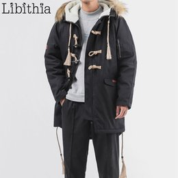 $enCountryForm.capitalKeyWord NZ - Men Casual Silk-like Cotton Down Parka Jacket Loose Long Coats With Hat Caw Button Winter Big Size 5XL Black Green T280