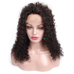 AfricAn AmericAn full wigs online shopping - Glueless Lace Front Virgin Human Hair Wigs Pre Plucked Full Lace Wigs Afro Jerry Curly Style inch African American Wigs