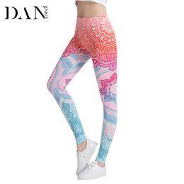 Whites Trousers For Women NZ - DANENJOY Leggings Mandala Mint Printing Fitness Legging High Elasticity Slim Leggins Trouser For Women High Waist Pencil Pants