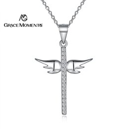 $enCountryForm.capitalKeyWord UK - GRACE MOMENTS Authentic Sterling Silver Angel's Wing Cross Pendant Water Wave Necklace for Women Sterling Silver Jewelry Gift