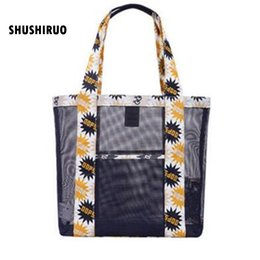 Organizer Bags Totes Canada - Grid Transparency Travel Beach Bag Summer Seaside Mesh Receive Wash Gargle Sports Laptop Handbag Women Makeup Organizer Totes