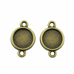 $enCountryForm.capitalKeyWord NZ - 50 Pieces Cabochon Cameo Base Tray Bezel Blank Jewelry Accessories Simple Connector Inner Size 10mm Round Necklace Pendant Setting